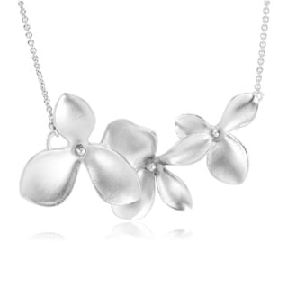 Sterling Silver Matte Finish Orchid Necklace