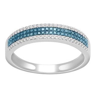 De Couer 10k White Gold 1/4ct TDW Blue and White Diamond Wedding Band