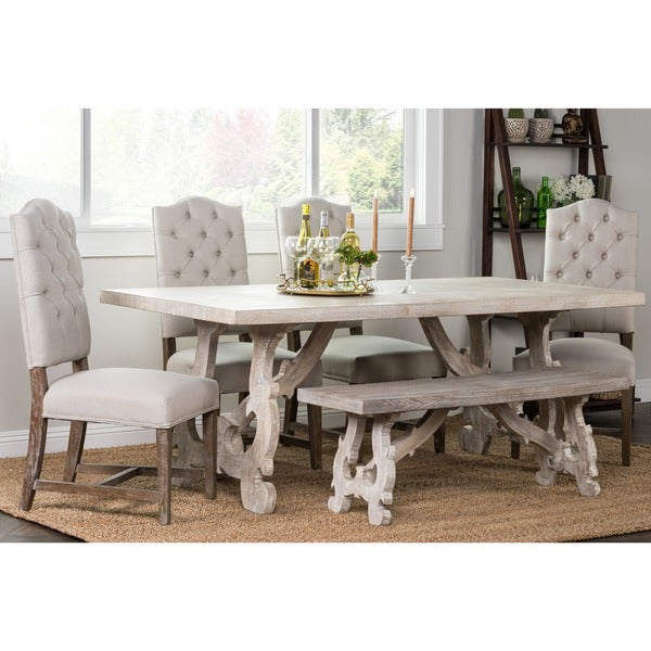 Lime Washed Farmhouse Tables And Benches Bespoke Sizes: Elliott Rustic Hand Crafted 76-inch Dining Table By Kosas