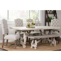 Elliott Rustic Hand Crafted 76-inch Dining Table by Kosas Home - White Washed - 30h x 78w x 38d