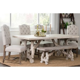 Elliott Rustic Hand Crafted 76-inch Dining Table by Kosas Home - Off White