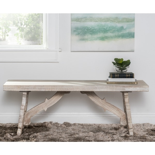 kosas home hand carved sustainable plantation grown mango wood adarna bench carved solid mango wood