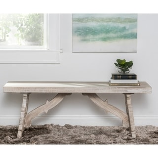 Kosas Home Hand-carved Sustainable Plantation Grown Mango Wood Adarna Bench