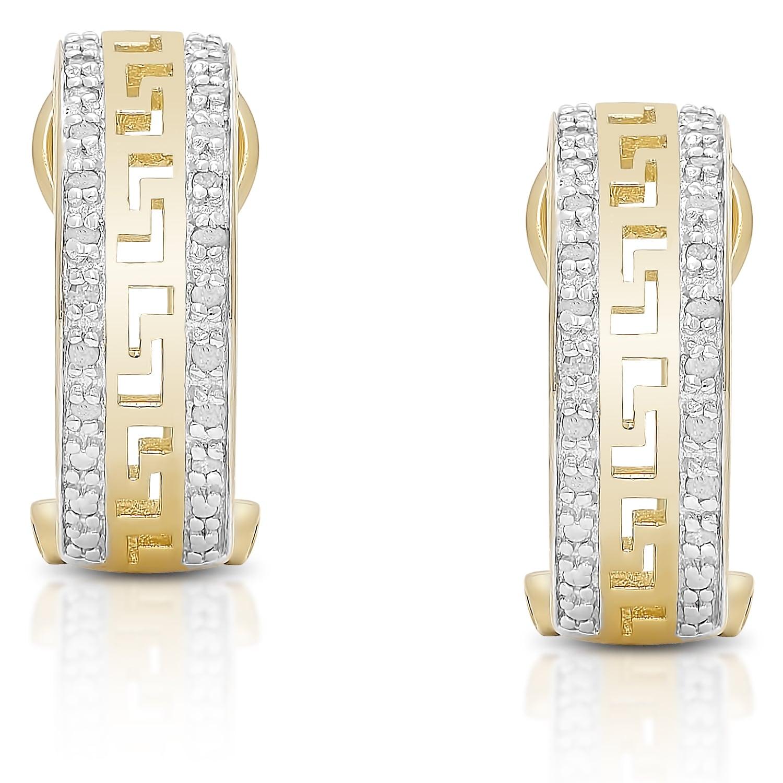 Finesque Sterling Silver 1/5ct TDW Diamond Greek Key Desi...