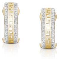 Finesque Sterling Silver 1/5ct TDW Diamond Greek Key Design Hoop Earrings