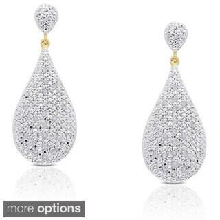 Finesque Sterling Silver 1/5ct TDW Diamond Teardrop Dangle Earrings