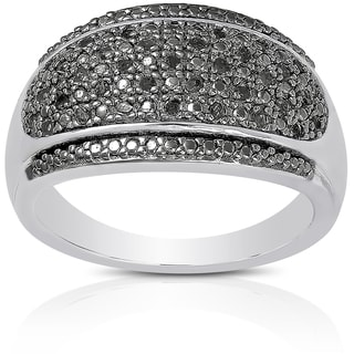 Finesque Sterling Silver 1/5ct TDW Black Diamond Ring