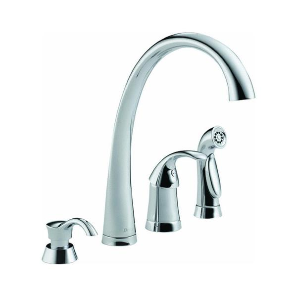 single handle with spray and soap dispenser chrome kitchen faucet