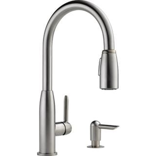 Peerless Apex Single-handle Kitchen Pull-down with Soap Dispenser Stainless Kitchen Faucet