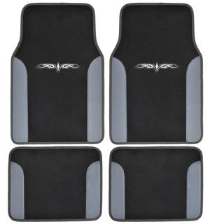 BDK Grey 4-piece Vinyl Trim Tattoo Design Car Floor Mat Set