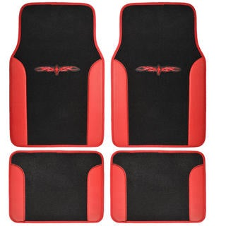 BDK Red 4-piece Vinyl Trim Tattoo Design Car Floor Mat Set