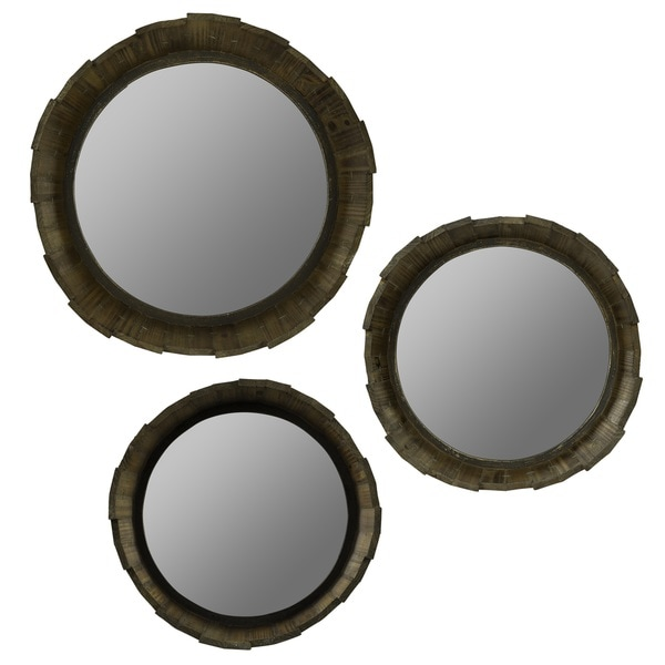 Grace Round Rustic Wood Mirrors