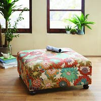 Madison Park Effie Espresso-finished Wood and Multi Polyester Upholstered Floral Cocktail Ottoman