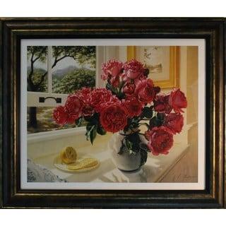 Robin Anderson 'Hot Pink Roses' Bronze Framed Art Print