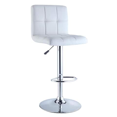 Powell Roxie White Quilted Faux Leather and Chrome Adjustable Height Bar Stool