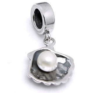 Queenberry Sterling Silver Fresh Water Pearl Sea Shell Dangle European Bead Charm (5mm)