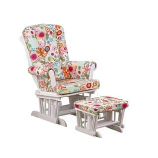 Cotton Tale Lizzie Collection White Colorful Fl Glider With Ottoman