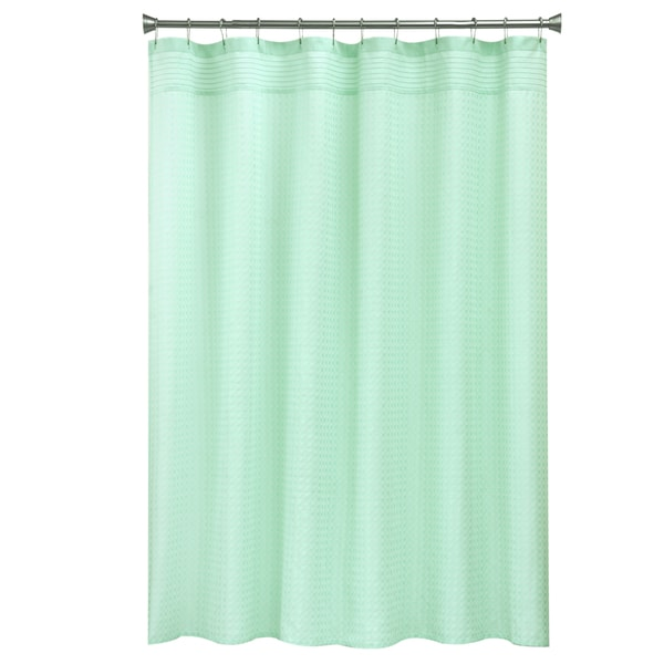 Bacova Guild Solid Mini Check Textured Fabric Shower Curtain