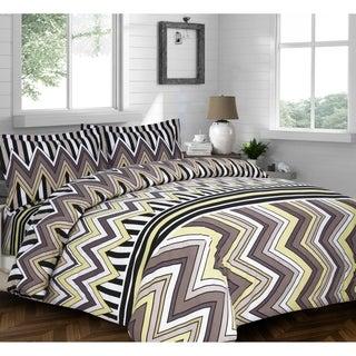 Chevron Stripe Printed Flannel 3-piece Duvet Cover Set