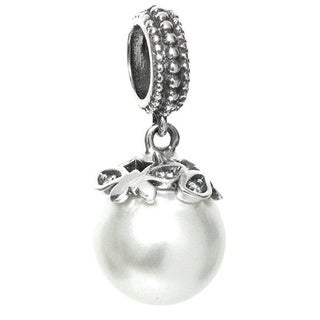 Queenberry Sterling Silver White Pearl Filigree Dangle Europen Bead Charm (9mm)
