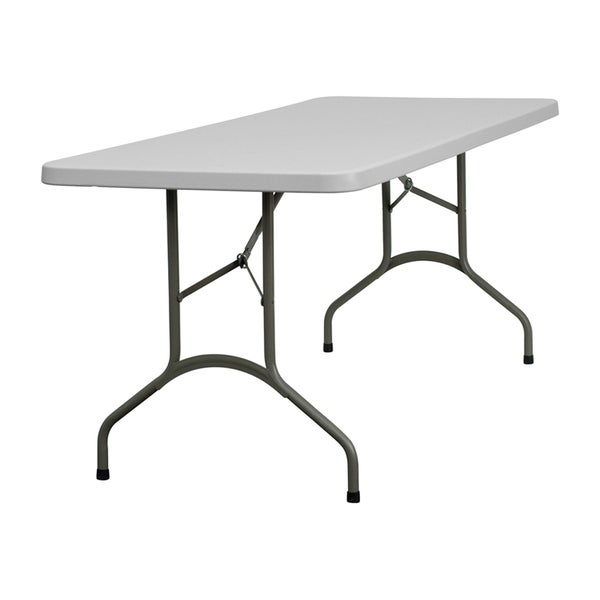 Offex Granite White Plastic Folding Table