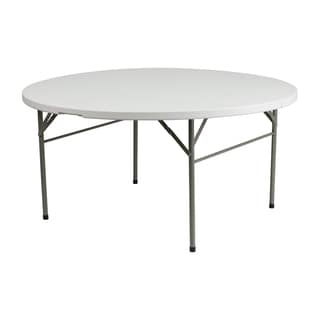 Offex 60-inch Round Bi-Fold Granite White Plastic Folding Table