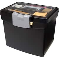 Storex Portable File Box + XL Storage inside the Lid /Black Color.