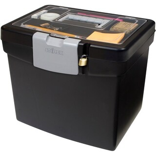 Storex Portable File Box + XL Storage inside the Lid /Black Color.