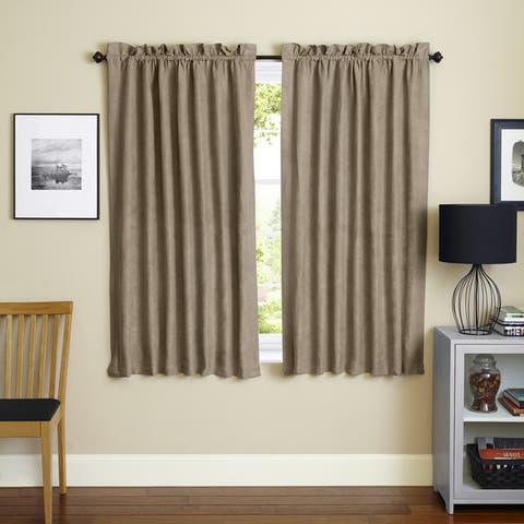 Blazing Needles 63-inch Microsuede Blackout Curtain Panel Pair - 52 x 63