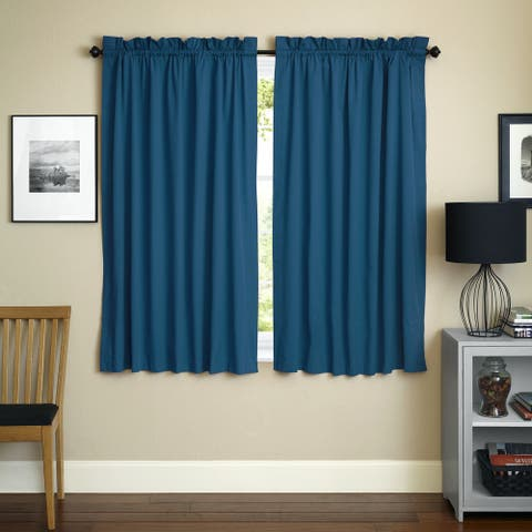 Blazing Needles 63-inch by 52-inch Twill Curtain Panels (Set of 2) - 52 x 63 - 52 x 63