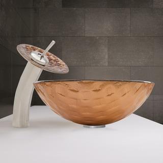 VIGO Playa Glass Vessel Sink and Waterfall Faucet Set in Brushed Nickel Finish