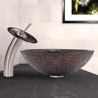 VIGO Copper Shield Glass Vessel Sink and Waterfall Faucet Set in Brushed Nickel Finish