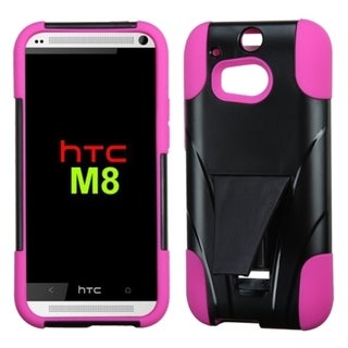 Insten Black/ Hot Pink Dual Layer Hybrid Stand PC/ Soft Silicone Phone Case Cover For HTC One 2/ M8