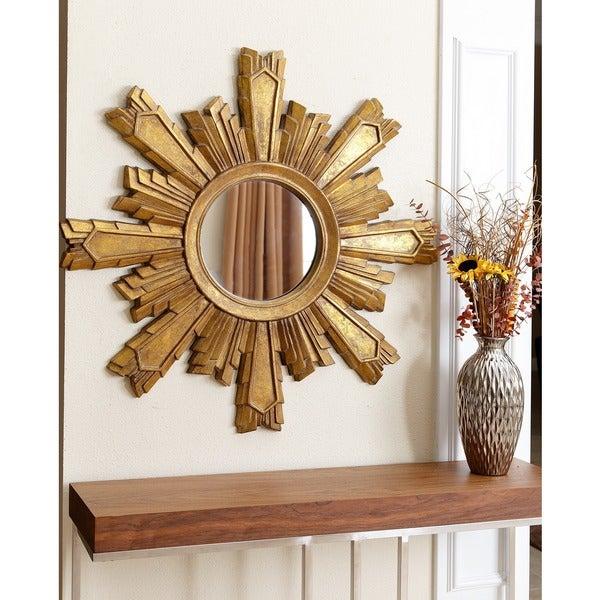 Abbyson Mikah Gold Sunburst Wall Mirror
