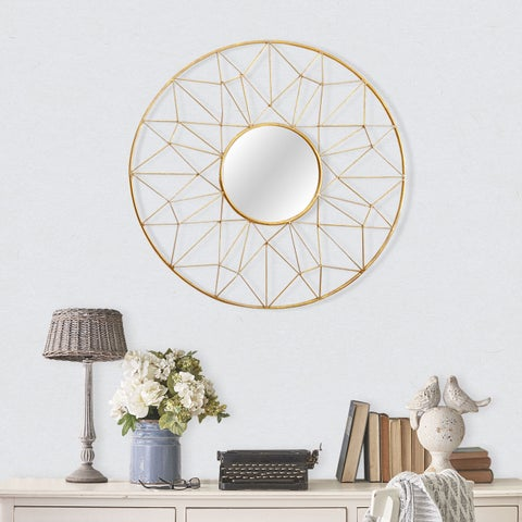 Abbyson Marie Round Gold Wall Mirror