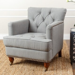 Abbyson Tafton Green-Grey Linen Armchair