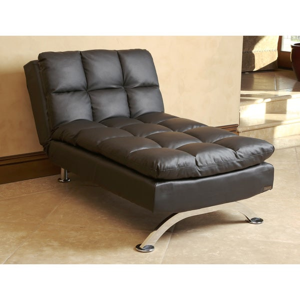 shop abbyson vienna black leather euro lounger chaise free rh overstock com