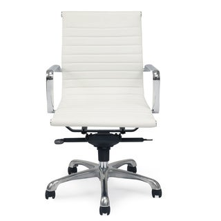 Aurelle Home Travis White Upholstered Metal Frame Low Back Office Chair (Set of 2)