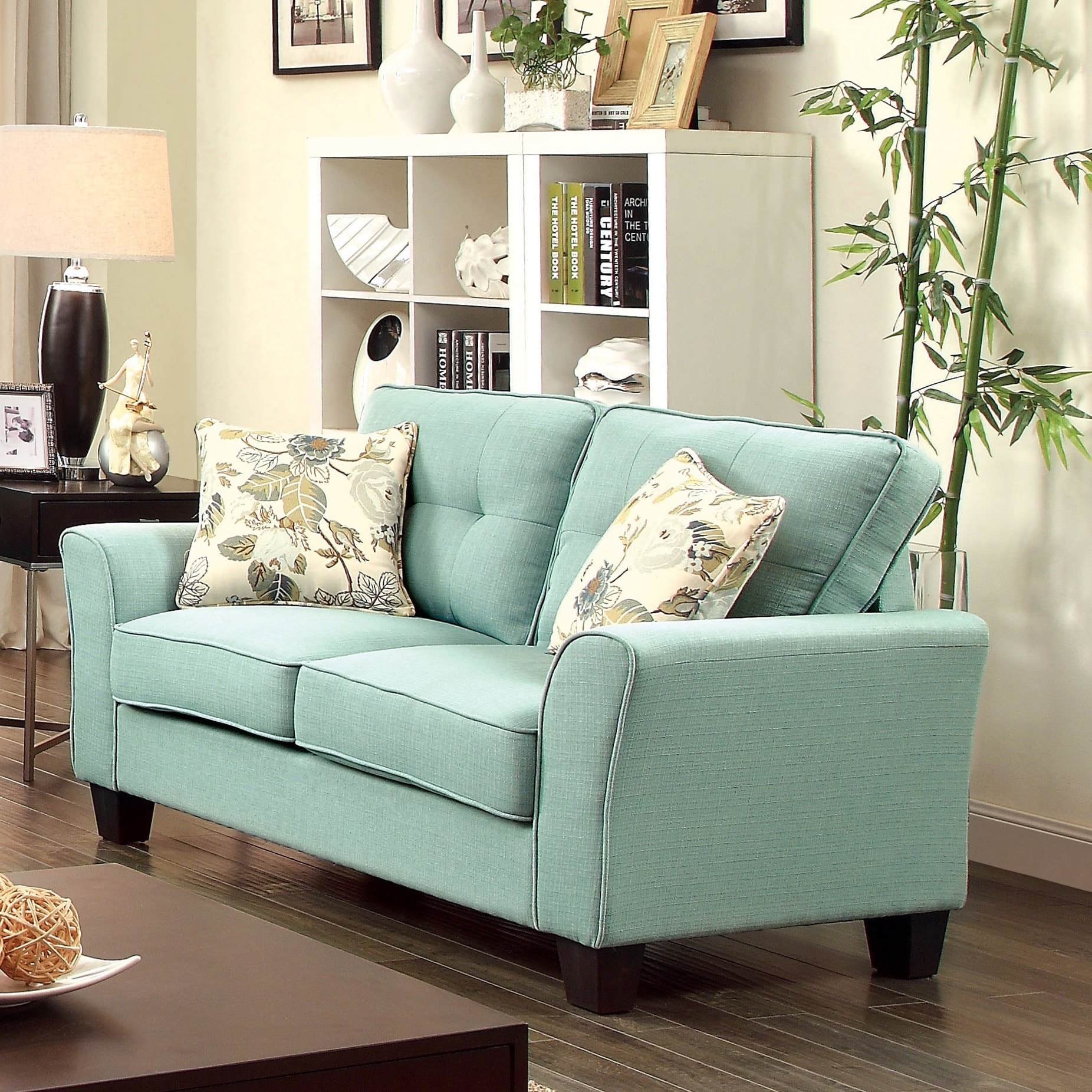 Furniture of America Primavera Modern Linen Loveseat Free
