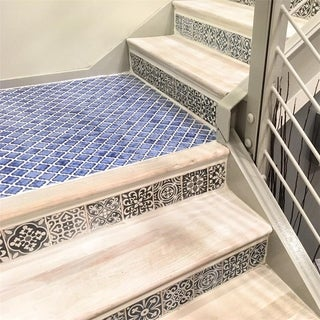 SomerTile 12.375x12.5 Inch Antaeus Sapphire Porcelain Mosaic Floor And Wall  Tile (