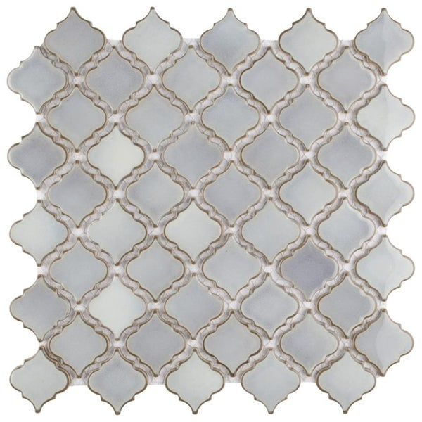 SomerTile 12.375x12.5-inch Antaeus Grey Eye Porcelain Mosaic Floor and Wall Tile (10 tiles/10.7 sqft.) (As Is Item). Opens flyout.