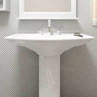 SomerTile 12.375x12.375-inch Jewel Glossy White Porcelain Mosaic Floor and Wall Tile (10 tiles/10.5 sqft.)