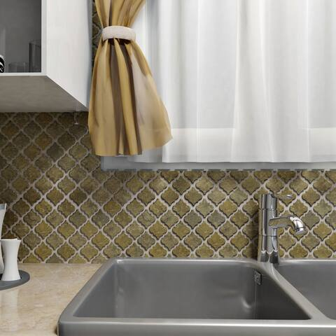 SomerTile 12.375x12.5-inch Antaeus Brownstone Porcelain Mosaic Floor and Wall Tile