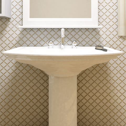 SomerTile 12.375x12.5-inch Antaeus Glossy White Porcelain Mosaic Floor and Wall Tile
