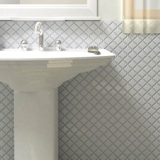 SomerTile 12.375x12.5 Inch Antaeus Matte White Porcelain Mosaic Floor And Wall  Tile