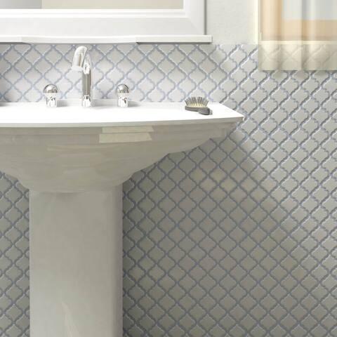 "SomerTile Hudson Tangier Matte White 12.38"" x 12.5"" Porcelain Mosaic Tile"