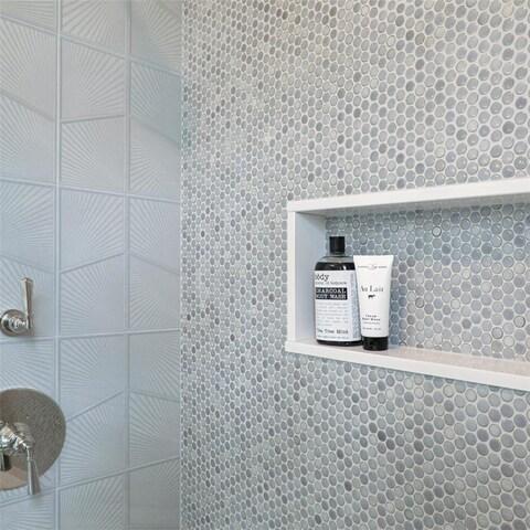 SomerTile 12x12.625-inch Penny Grey Eye Porcelain Mosaic Floor and Wall Tile (10 tiles/10.2 sqft.)