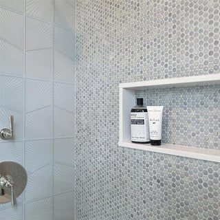 SomerTile 12 x 12.625-inch Penny Grey Eye Porcelain Mosaic Floor and Wall Tile (Pack of 10)