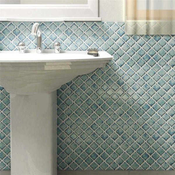 SomerTile 12.375x12.5 Inch Antaeus Marine Porcelain Mosaic Floor And Wall  Tile (