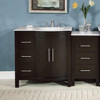Silkroad Exclusive 54-inch Single Sink Carrara White Marble Stone Top Bathroom Modular Vanity